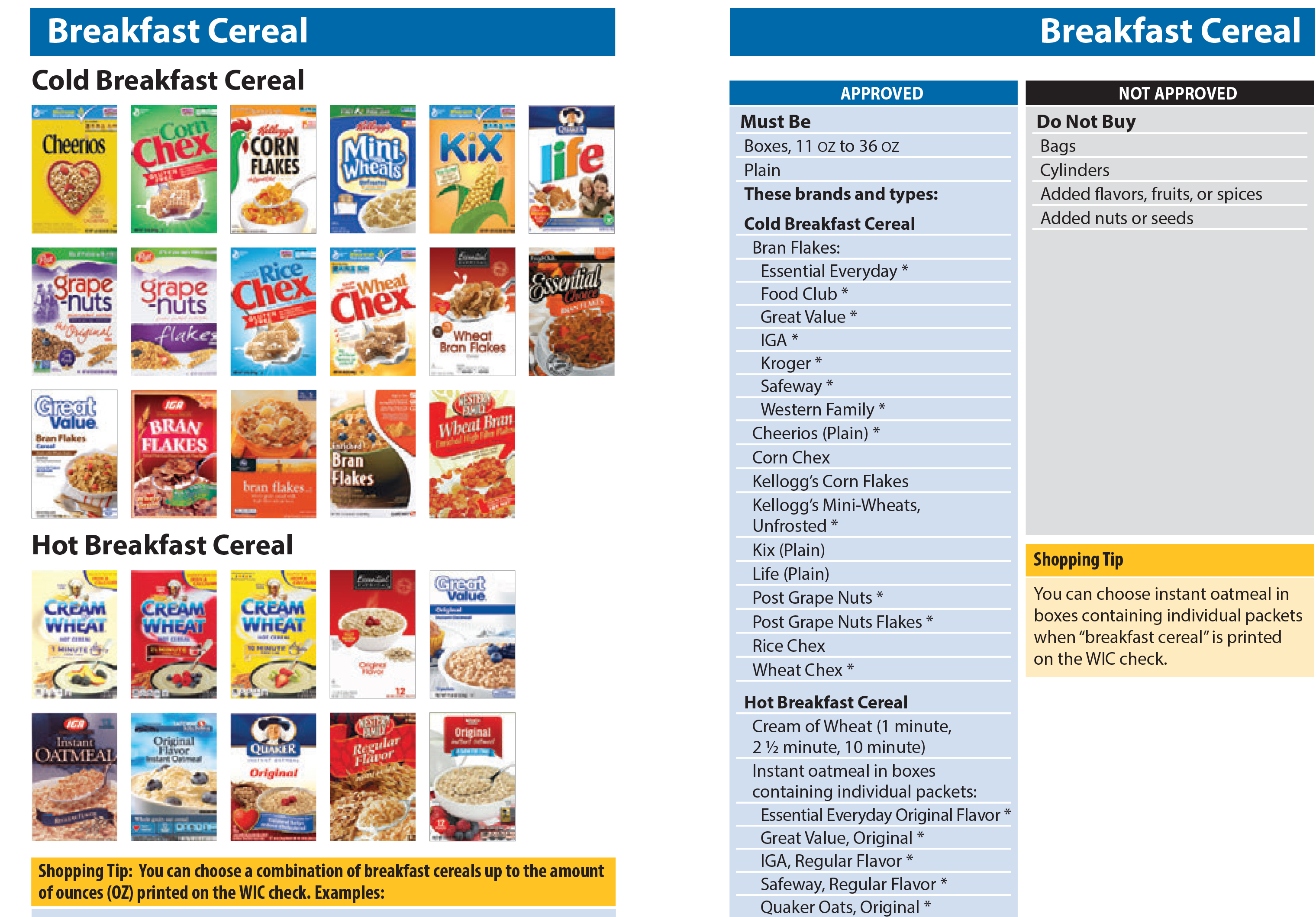 WIC Shopping Guide - Breakfast Cereal